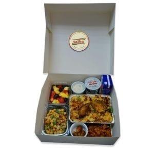 PARCEL BOX, RAMADAN MENU, Salad, Chicken Biryani, Raita Pakora, Dates, Fruit Salad, Water Cup, Juice taiba farms Ramadan meals Iftar meals