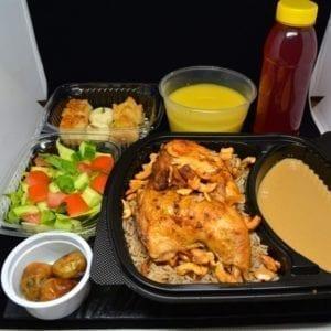 Parcel Box Ramadan Iftar Lentil Soup, Salad, Roast Chicken with Oriental Rice, Dates, Arabic Sweets, Ramadan Drink